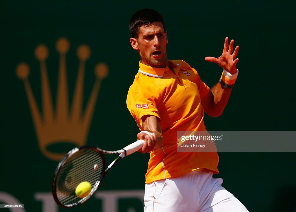 Novak Djokovic of Serbia in action against Albert Ramos-Vinolas of Spain during day three of the Monte Carlo Rolex Masters tennis at the Monte-Carlo Sporting Club on April 14, 2015 in Monte-Carlo, Monaco.