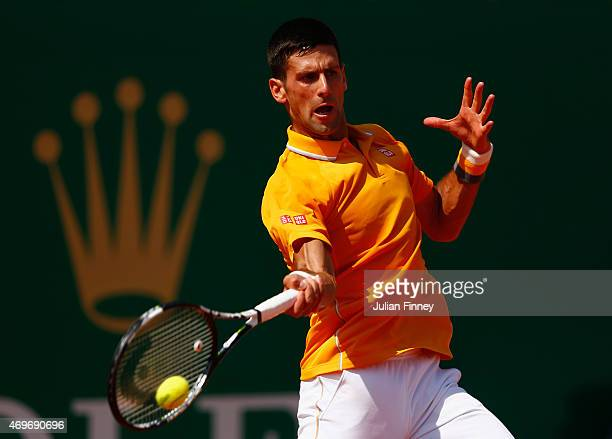 Novak Djokovic of Serbia in action against Albert Ramos-Vinolas of Spain during day three of the Monte Carlo Rolex Masters tennis at the Monte-Carlo...