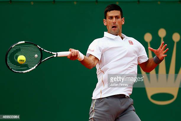 Novak Djokovic of Serbia in action against Andreas HaiderMaurer of Austria during day five of the Monte Carlo Rolex Masters tennis at the MonteCarlo...