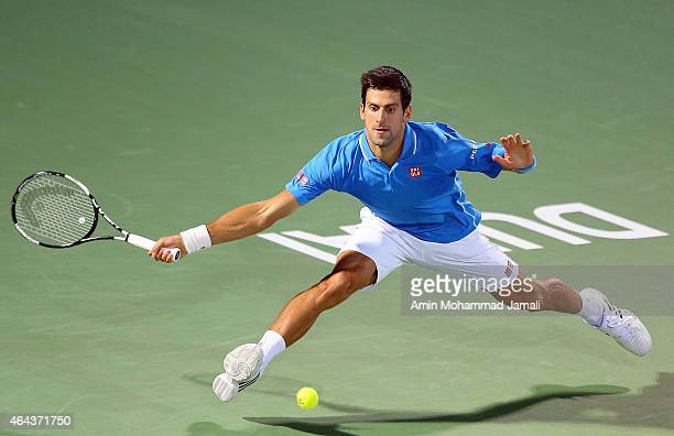 Novak Djokovic of Serbia in action against Andrey Golubev of Kazakhestan during day three of the ATP Dubai Duty Free Tennis Championships at the...