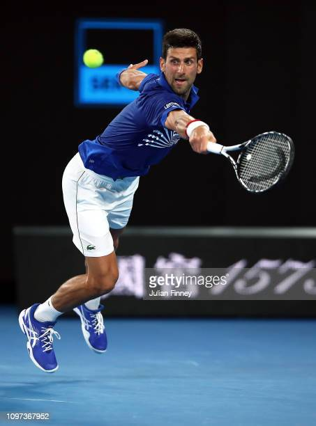 Novak Djokovic of Serbia in action against Daniil Medvedev of Russia in the mens fourth round match during day eight of the 2019 Australian Open at...