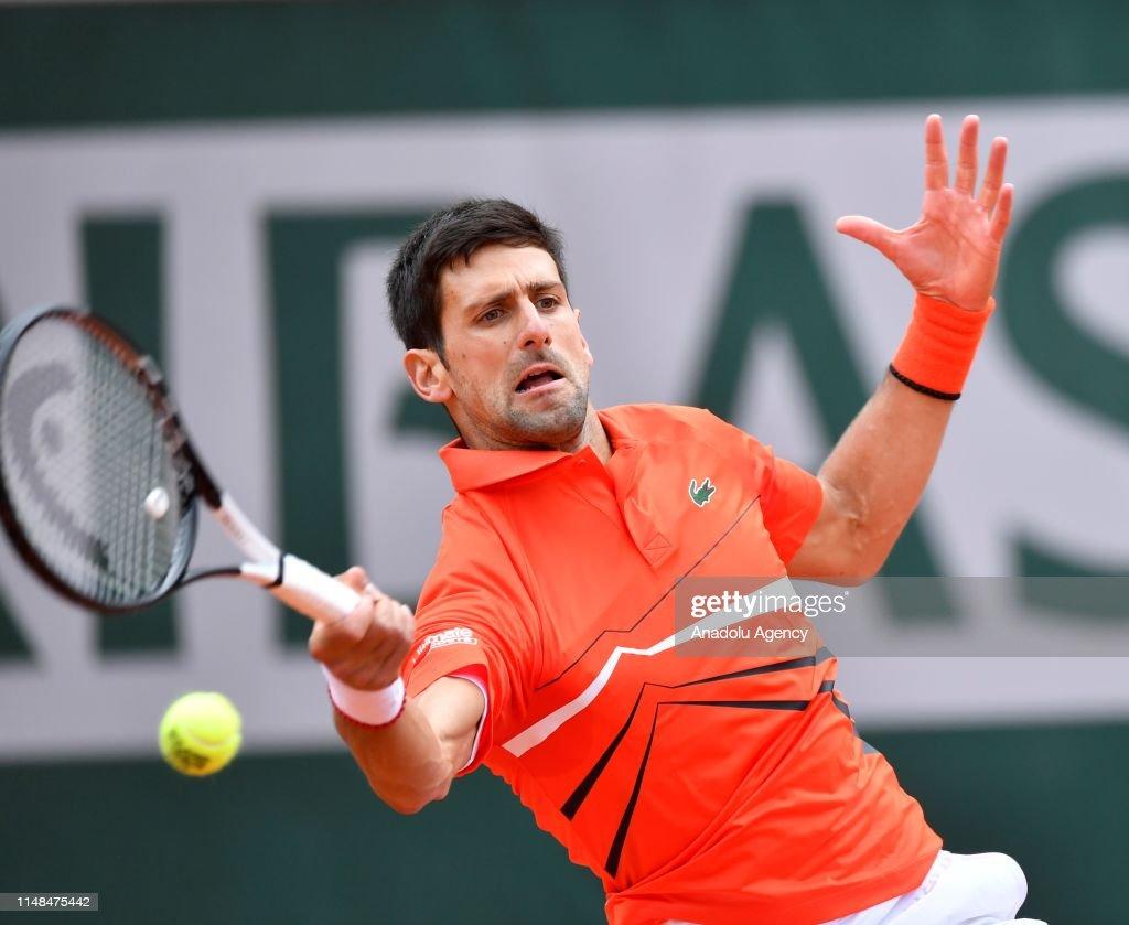 French Open 2019 mens semi final, Dominic Thiem vs Novak Djokovic : News Photo