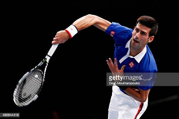 Novak Djokovic of Serbia in action against Gilles Simon of France during Day 4 of the BNP Paribas Masters held at AccorHotels Arena on November 5...