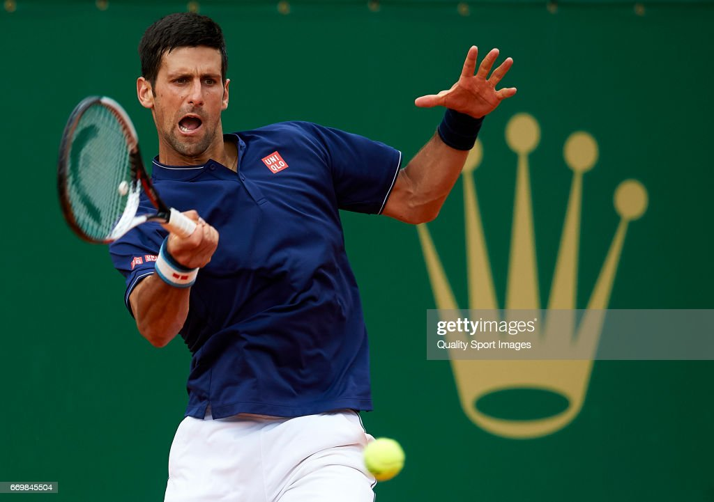 Novak Djokovic of Serbia in action against Gilles Simon of France during day three of the ATP Monte Carlo Rolex Masters Tennis at Monte-Carlo Sporting Club on April 18, 2017 in Monte-Carlo, Monaco.