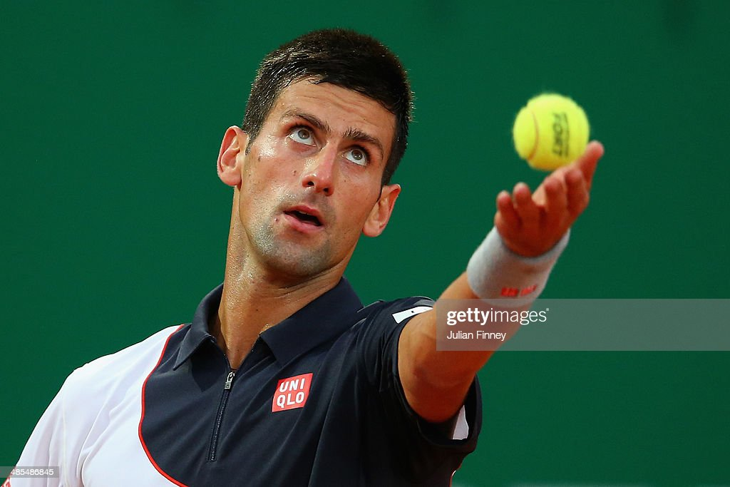 Novak Djokovic of Serbia in action against Guillermo Garcia-Lopez of Spain during day six of the ATP Monte Carlo Rolex Masters Tennis at Monte-Carlo Sporting Club on April 18, 2014 in Monte-Carlo, Monaco.