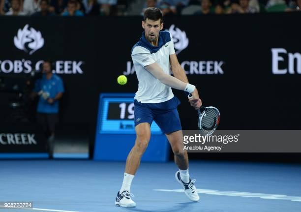 Novak Djokovic of Serbia in action against Hyeon Chung of South Korea on day eight of the 2018 Australian Open at Melbourne Park on January 22 2018...