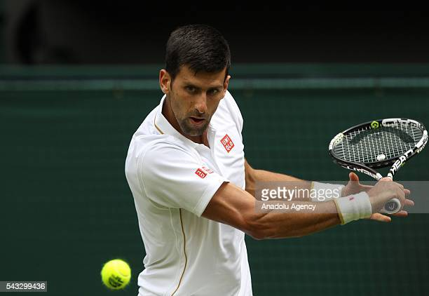 Novak Djokovic of Serbia in action against James Ward of England in the mens' singles on day one of the 2016 Wimbledon Championships at the All...