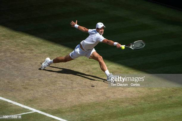 Novak Djokovic of Serbia in action against Kevin Anderson of South Africa in the Men's Singles Final on Center Court during the Wimbledon Lawn Tennis...