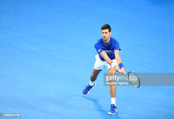 Novak Djokovic of Serbia in action against Lucas Pouille of France during Australian Open 2019 Men's Singles semifinals match in Melbourne Australia...