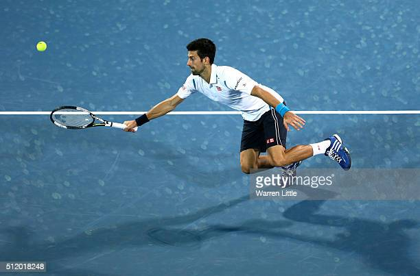 Novak Djokovic of Serbia in action against Malek Jaziri of Tunisia during day five of the ATP Dubai Duty Free Tennis Championship at the Dubai Duty...
