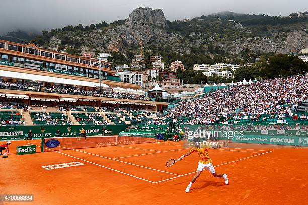 Novak Djokovic of Serbia in action against Marin Cilic of Croatia during day six of the Monte Carlo Rolex Masters tennis at the MonteCarlo Sporting...