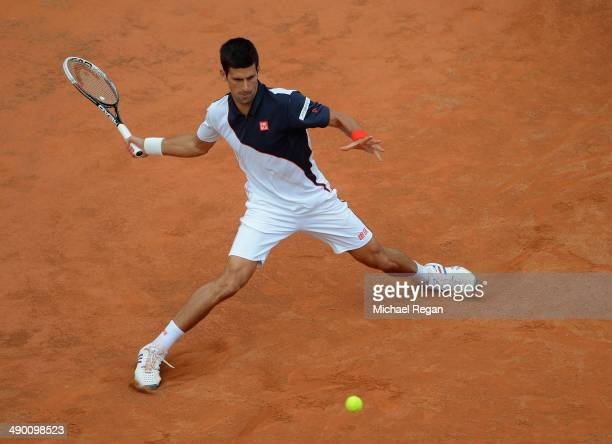 Novak Djokovic of Serbia in action against Radek Stepanek of Czech Republic during day 3 of the Internazionali BNL d'Italia 2014 on May 13 2014 in...