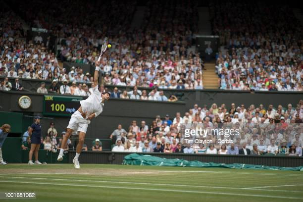 Novak Djokovic of Serbia in action against Rafael Nadal of Spain in the Men's Singles Semifinal on Center Court during the Wimbledon Lawn Tennis...