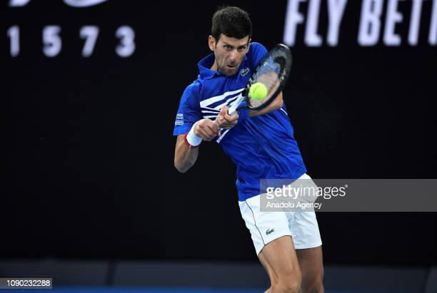 Novak Djokovic of Serbia in action against Rafael Nadal of Spain in the Australian Open 2019 Men's Singles final match in Melbourne Australia on...