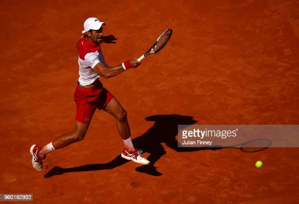 Novak Djokovic of Serbia in action against Rafael Nadal of Spain in the semi finals during day seven of the Internazionali BNL d'Italia 2018 tennis...