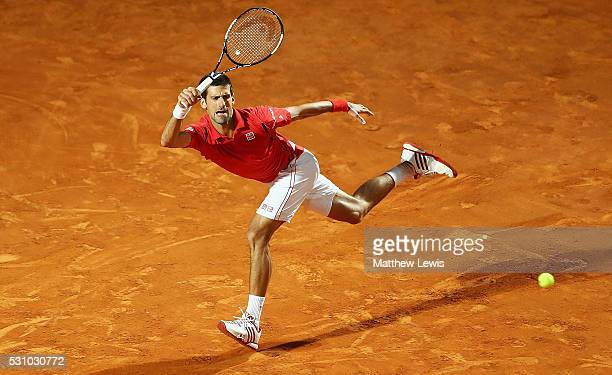 Novak Djokovic of Serbia in action against Thomaz Bellucci of Barsil during day five of The Internazionali BNL d'Italia 2016 on May 12 2016 in Rome...