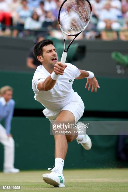 Novak Djokovic of Serbia in action against Tomas Berdych of the Czech Republic in the Mens' Singles Quarter Final match on Court One during the...