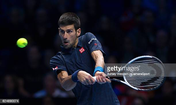 Novak Djokovic of Serbia in action during his defeat to Andy Murray of Great Britain in their mens singles Final match on day eight of the ATP World...