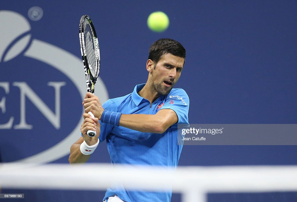 Novak Djokovic of Serbia in action during his first round match on day 1 of the 2016 US Open at USTA Billie Jean King National Tennis Center on August 29, 2016 in New York City.