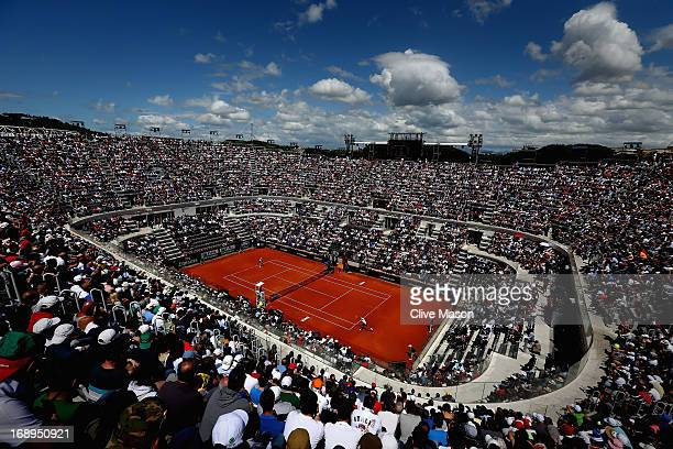 Novak Djokovic of Serbia in action during his quarter final match against Tomas Berdych of the Czech Republic on day six of the Internazionali BNL...