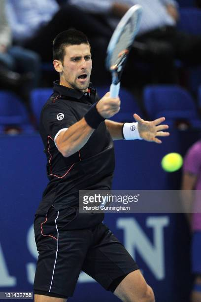 Novak Djokovic of Serbia in action during his quarter-final match against Marcos Baghdatis of Cyprus during day five of the Swiss Indoors at St...