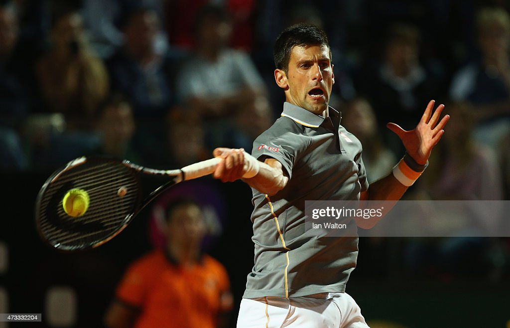 Novak Djokovic of Serbia in action during his Third Round match against Thomaz Bellucci of Brazil on Day Five of The Internazionali BNL d'Italia 2015 at the Foro Italico on May 14, 2015 in Rome, Italy.