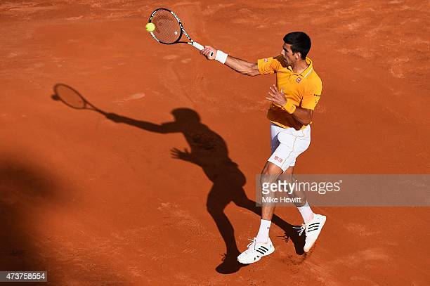 Novak Djokovic of Serbia in action during his victory over Roger Federer of Switzerland in the Men's Singles Final on Day Eight of The Internazionali...