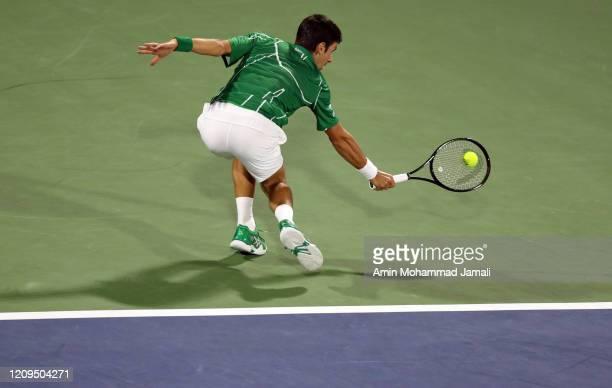 Novak Djokovic of Serbia in action during the final against Stefanos Tsitsipas of Greece Match Day thirteen of the Dubai Duty Free Tennis at Dubai...