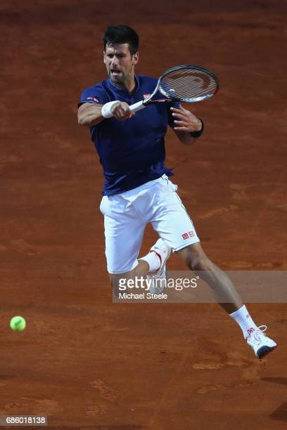 Novak Djokovic of Serbia in action during the men's semifinal against Dominic Thiem of Austria on Day Seven of the Internazionali BNL d'Italia 2017...