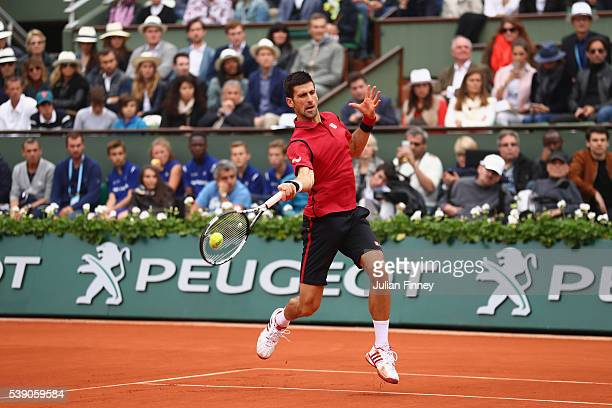 Novak Djokovic of Serbia in action during the Men's Singles final match against Andy Murray of Great Britain on day fifteen of the 2016 French Open...