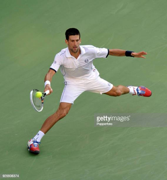 Novak Djokovic of Serbia in action during the Men's Singles Final against Rafael Nadal of Spain on Day Fifteen of the 2011 US Open at the USTA Billie...