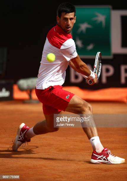 Novak Djokovic of Serbia in action in his match against Nikoloz Basilashvili of Georgia during day four of the Internazionali BNL d'Italia 2018...