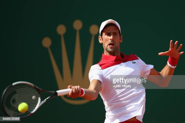 Novak Djokovic of Serbia in action in his singles match against Dusan Lajovic of Serbia during day two of ATP Masters Series Monte Carlo Rolex...