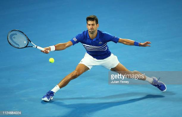 Novak Djokovic of Serbia in action in the semi final match against Lucas Pouille of France during day 12 of the 2019 Australian Open at Melbourne...