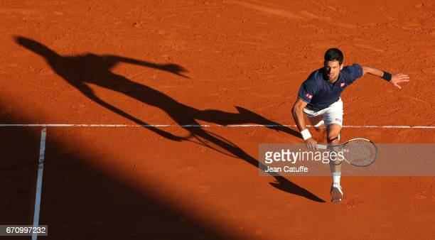 Novak Djokovic of Serbia in action on day 5 of the MonteCarlo Rolex Masters an ATP Tour Masters Series 1000 on the clay courts of the MonteCarlo...
