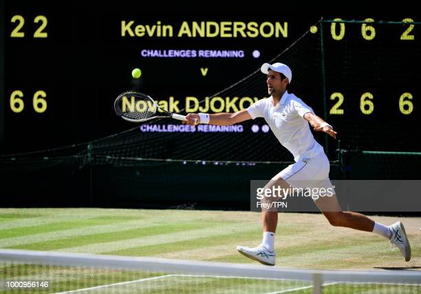 Novak Djokovic of Serbia in action on match point against Kevin Anderson of South Africa in the final of the gentlemen's singles at the All England...