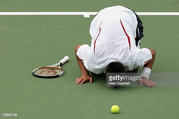 Novak Djokovic of Serbia kisses the court after defeating Chris Guccione of Australia during the final day of the 2007 Next Generation Adelaide...