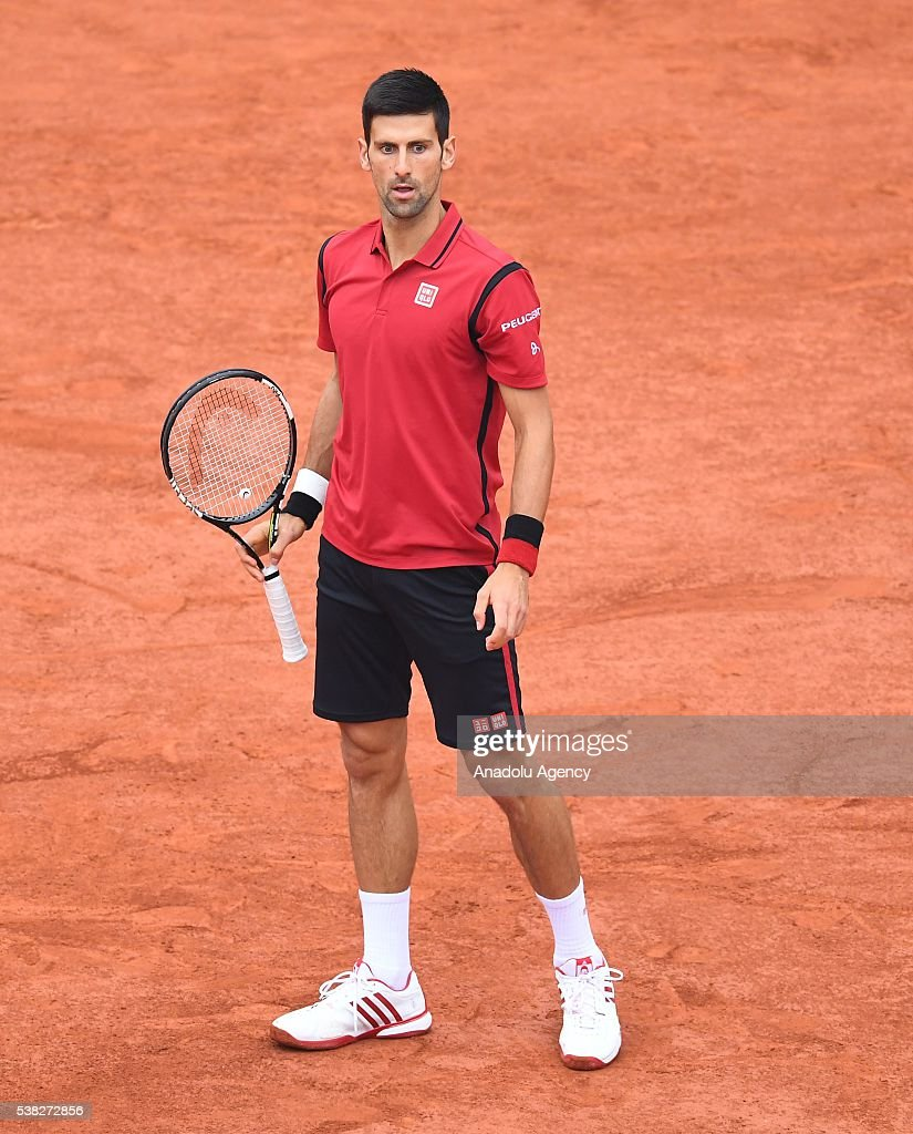 Novak Djokovic of Serbia looks during the match against Andy Murray of United Kingdom during the men's single final match at the French Open tennis tournament at Roland Garros Stadium in Paris, France on June 05, 2016.