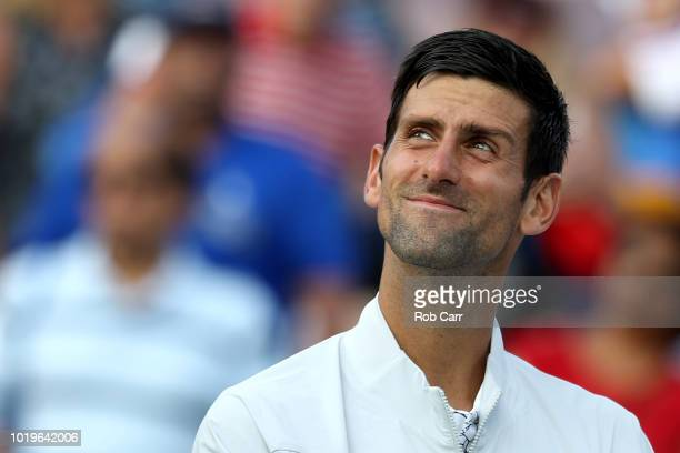 Novak Djokovic of Serbia looks on after winning the mens final against Roger Federer of Switzerland during Day 9 of the Western and Southern Open at...