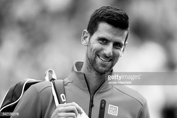 Novak Djokovic of Serbia looks on as he walks off court after his match against David Goffin of Belgium during day two of The Boodles Tennis Event at...