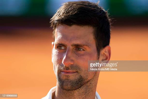 Novak Djokovic of Serbia looks on during his match against Alexander Zverev of Germany on June 14 during the 3rd day of Summer Adria Tour 2020 in...