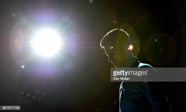 Novak Djokovic of Serbia makes his way onto court for his Mens Singles quarter final match against Marin Cilic of Croatia on day five of the BNP...