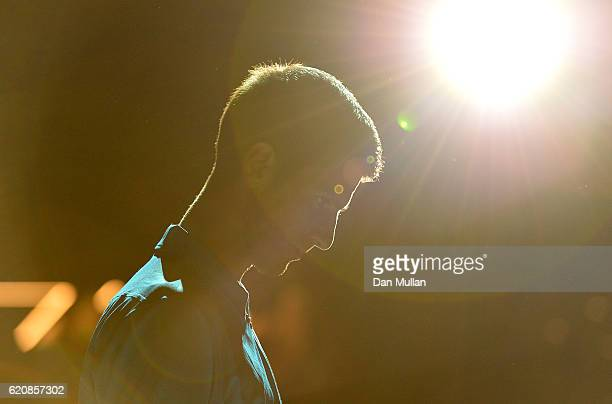 Novak Djokovic of Serbia makes his way onto court for his Mens Singles third round match against Grigor Dimitrov of Bulgaria on day four of the BNP...
