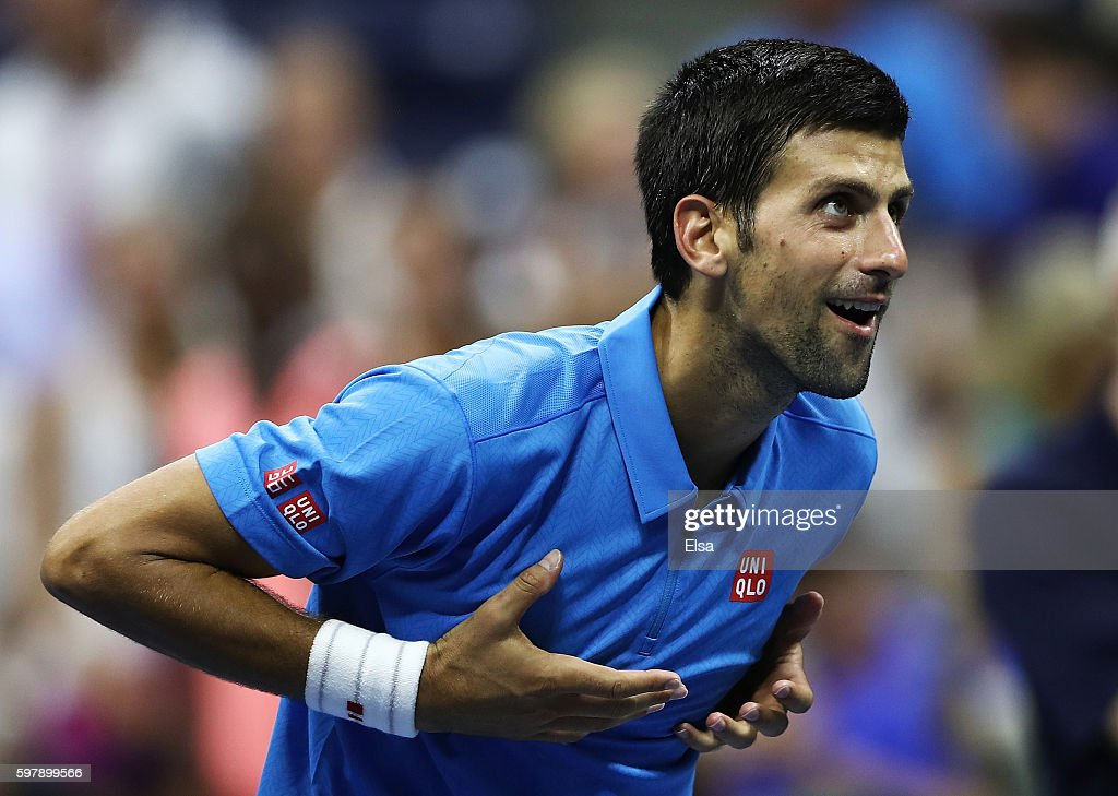 Novak Djokovic of Serbia & Montenegro celebrates defeating Jerzy Janowicz of Poland during his first round Men's Singles match on Day One of the 2016 US Open at the USTA Billie Jean King National Tennis Center on August 29, 2016 in the Flushing neighborhood of the Queens borough of New York City.