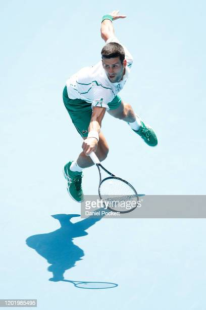 Novak Djokovic of Serbia plays a backhand during his Men's Singles fourth round match against Diego Schwartzman of Argentina on day seven of the 2020...