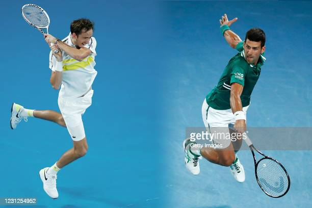 Novak Djokovic of Serbia plays a backhand in his Men's Singles Quarterfinals match against Alexander Zverev of Germany during day nine of the 2021...