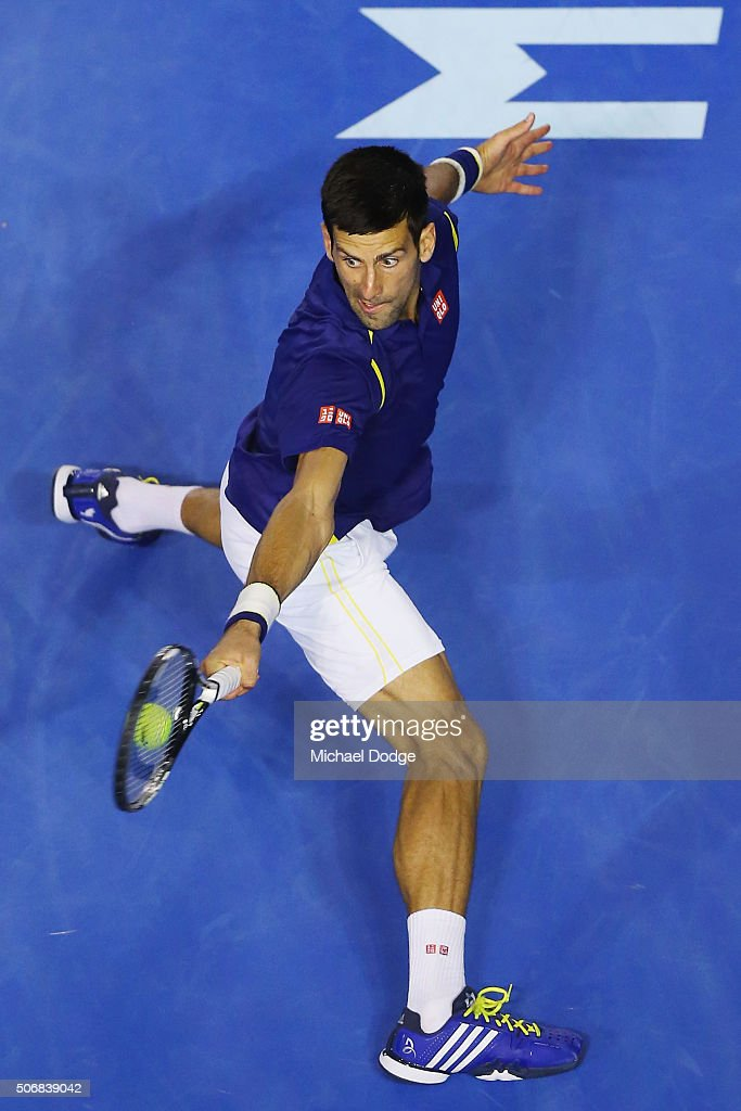 Novak Djokovic of Serbia plays a backhand in his quarter final match against Kei Nishikori of Japan during day nine of the 2016 Australian Open at Melbourne Park on January 26, 2016 in Melbourne, Australia.