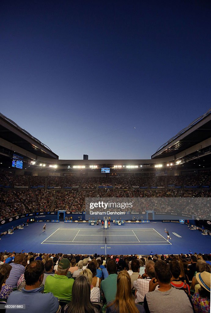 Novak Djokovic of Serbia plays a backhand in his third round match against Fernando Verdasco of Spain during day six of the 2015 Australian Open at Melbourne Park on January 24, 2015 in Melbourne, Australia.