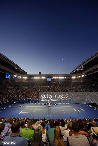 Novak Djokovic of Serbia plays a backhand in his third round match against Fernando Verdasco of Spain during day six of the 2015 Australian Open at...