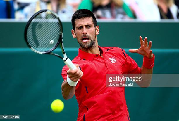 Novak Djokovic of Serbia plays a forehand during his match against David Goffin of Belgium during day two of The Boodles Tennis Event at Stoke Park...